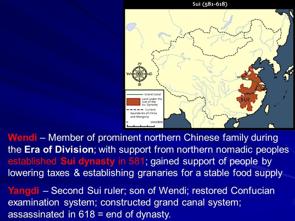 Sui Dynasty, 581-618 C.E. Land Equalization System –> land redistribution.