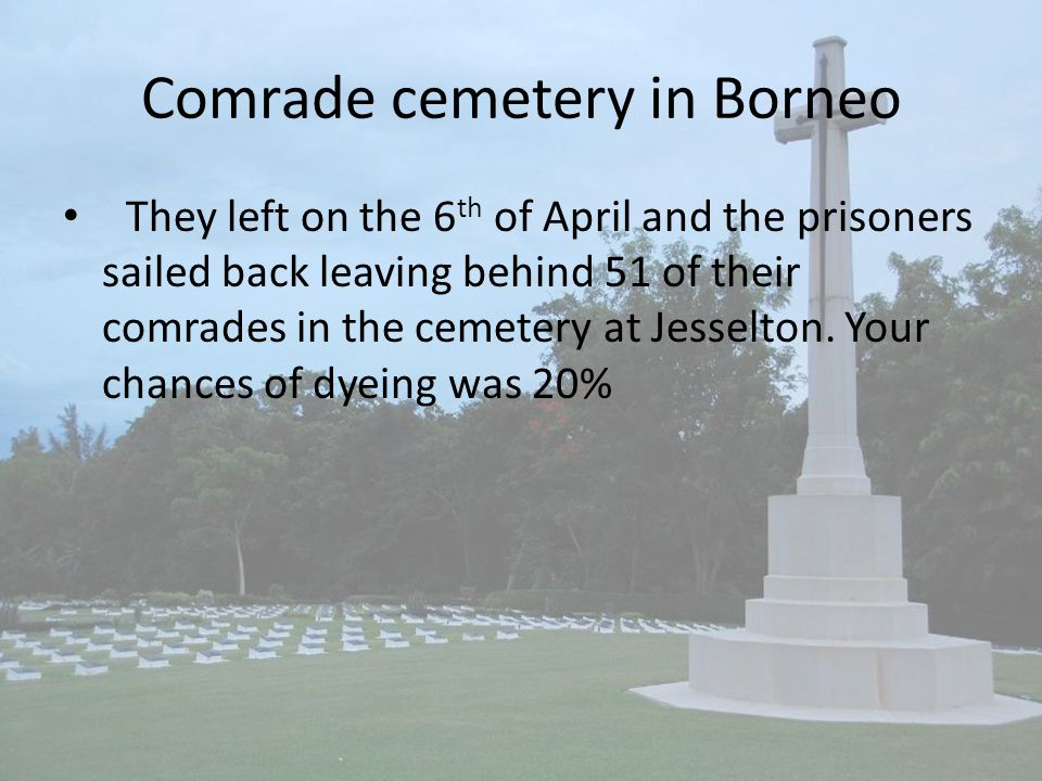 Comrade cemetery in Borneo They left on the 6 th of April and the prisoners sailed back leaving behind 51 of their comrades in the cemetery at Jesselton.