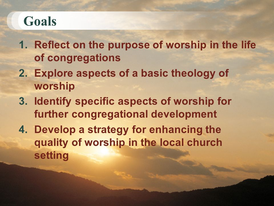 Goals 1.Reflect on the purpose of worship in the life of congregations 2.Explore aspects of a basic theology of worship 3.Identify specific aspects of