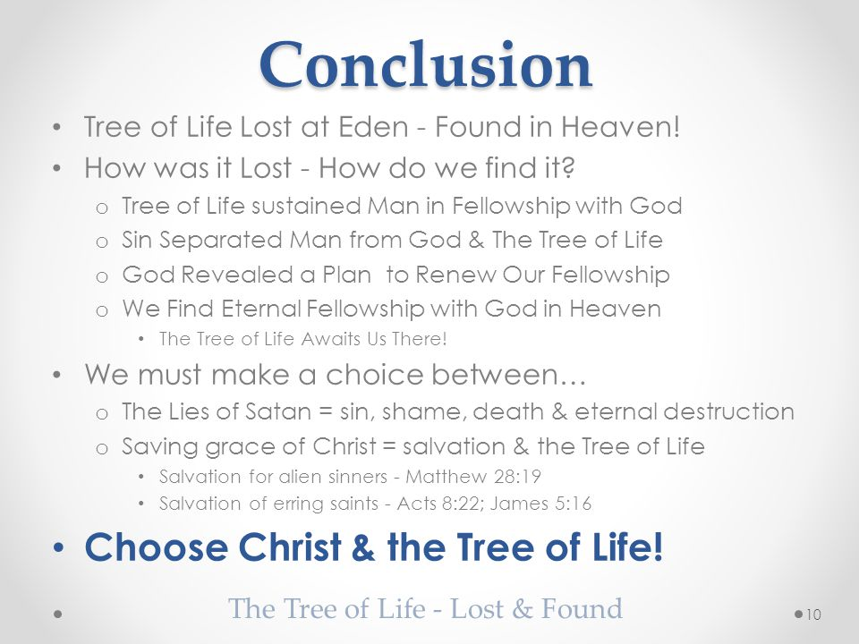 Conclusion Tree of Life Lost at Eden - Found in Heaven.