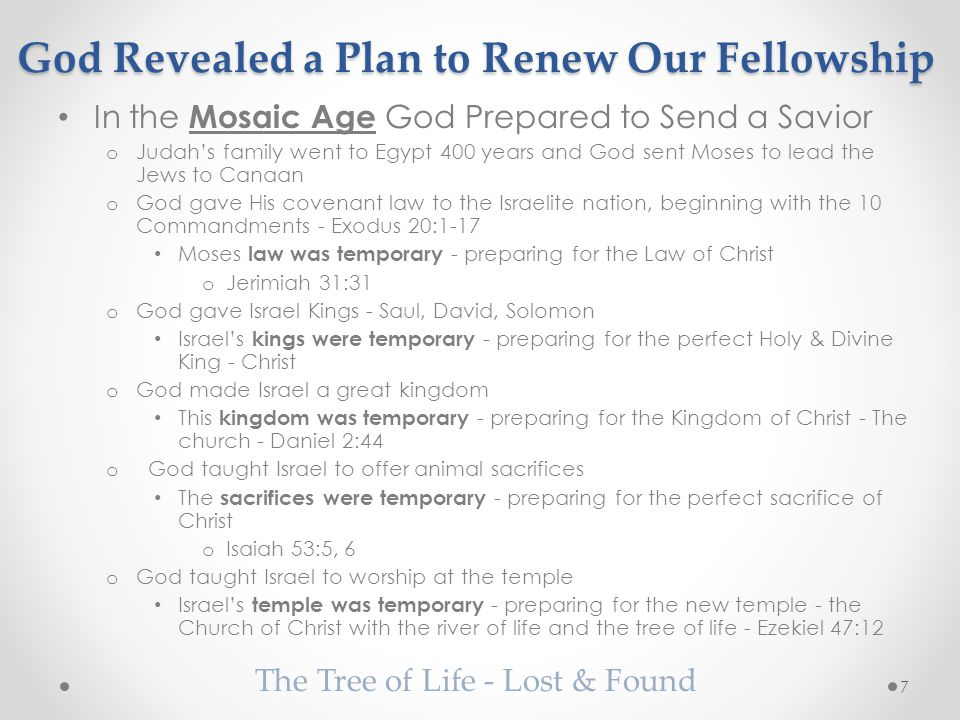 God Revealed a Plan to Renew Our Fellowship In the Mosaic Age God Prepared to Send a Savior o Judah's family went to Egypt 400 years and God sent Moses to lead the Jews to Canaan o God gave His covenant law to the Israelite nation, beginning with the 10 Commandments - Exodus 20:1-17 Moses law was temporary - preparing for the Law of Christ o Jerimiah 31:31 o God gave Israel Kings - Saul, David, Solomon Israel's kings were temporary - preparing for the perfect Holy & Divine King - Christ o God made Israel a great kingdom This kingdom was temporary - preparing for the Kingdom of Christ - The church - Daniel 2:44 o God taught Israel to offer animal sacrifices The sacrifices were temporary - preparing for the perfect sacrifice of Christ o Isaiah 53:5, 6 o God taught Israel to worship at the temple Israel's temple was temporary - preparing for the new temple - the Church of Christ with the river of life and the tree of life - Ezekiel 47:12 The Tree of Life - Lost & Found 7