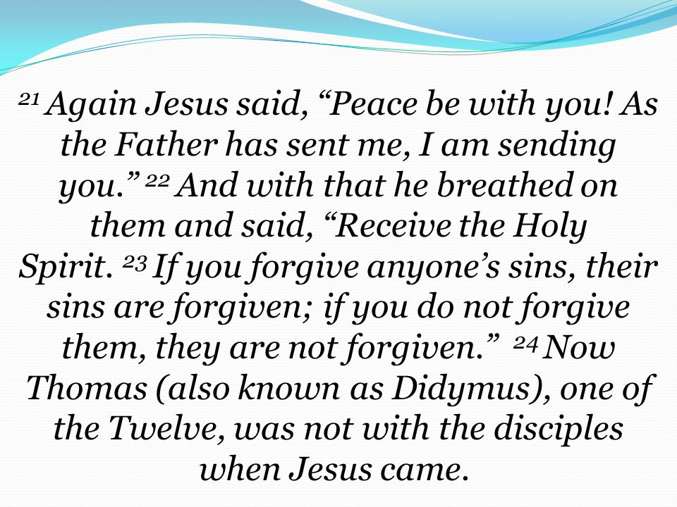 21 Again Jesus said, Peace be with you.