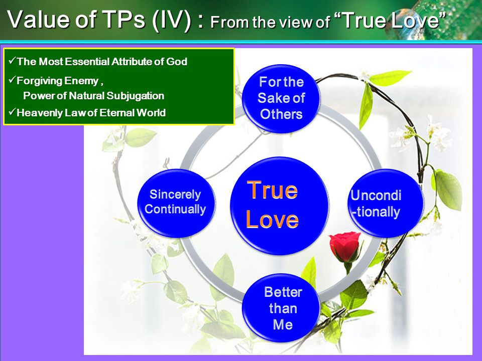 The Most Essential Attribute of God The Most Essential Attribute of God Forgiving Enemy, Forgiving Enemy, Power of Natural Subjugation Power of Natural Subjugation Heavenly Law of Eternal World Heavenly Law of Eternal World Value of TPs (IV) : From the view of True Love