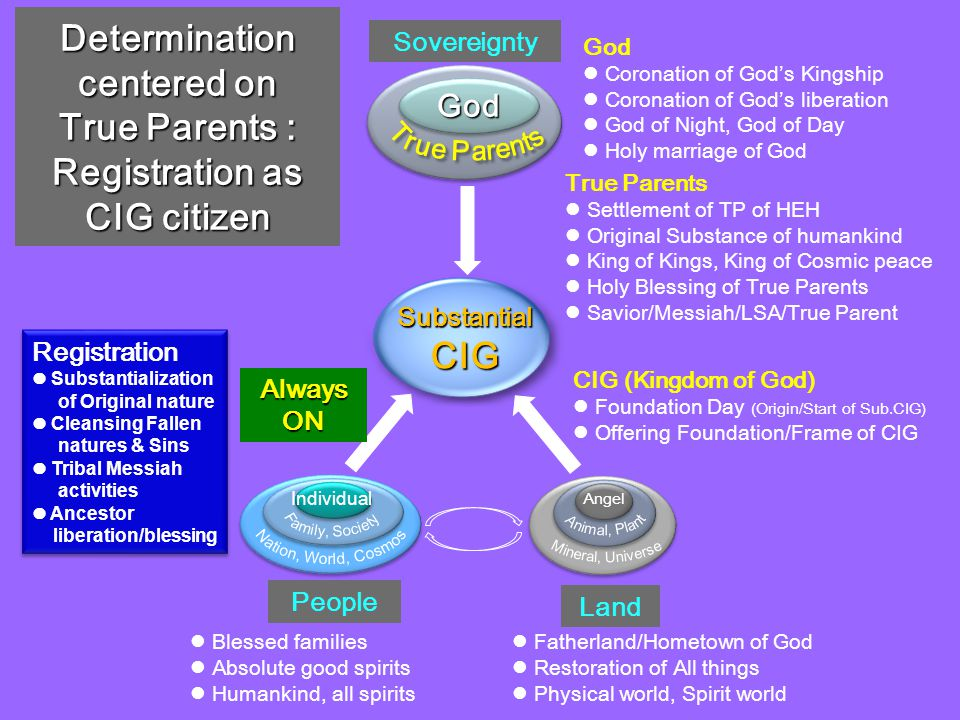 Determination centered on True Parents : Registration as CIG citizen Individual Angel God People Registration Substantialization of Original nature Cleansing Fallen natures & Sins Tribal Messiah activities Ancestor liberation/blessing Registration Substantialization of Original nature Cleansing Fallen natures & Sins Tribal Messiah activities Ancestor liberation/blessing SubstantialCIG Land Sovereignty God Coronation of God ' s Kingship Coronation of God ' s liberation God of Night, God of Day Holy marriage of God Blessed families Absolute good spirits Humankind, all spirits Fatherland/Hometown of God Restoration of All things Physical world, Spirit world True Parents Settlement of TP of HEH Original Substance of humankind King of Kings, King of Cosmic peace Holy Blessing of True Parents Savior/Messiah/LSA/True Parent CIG (Kingdom of God) Foundation Day (Origin/Start of Sub.CIG) Offering Foundation/Frame of CIG Always ON