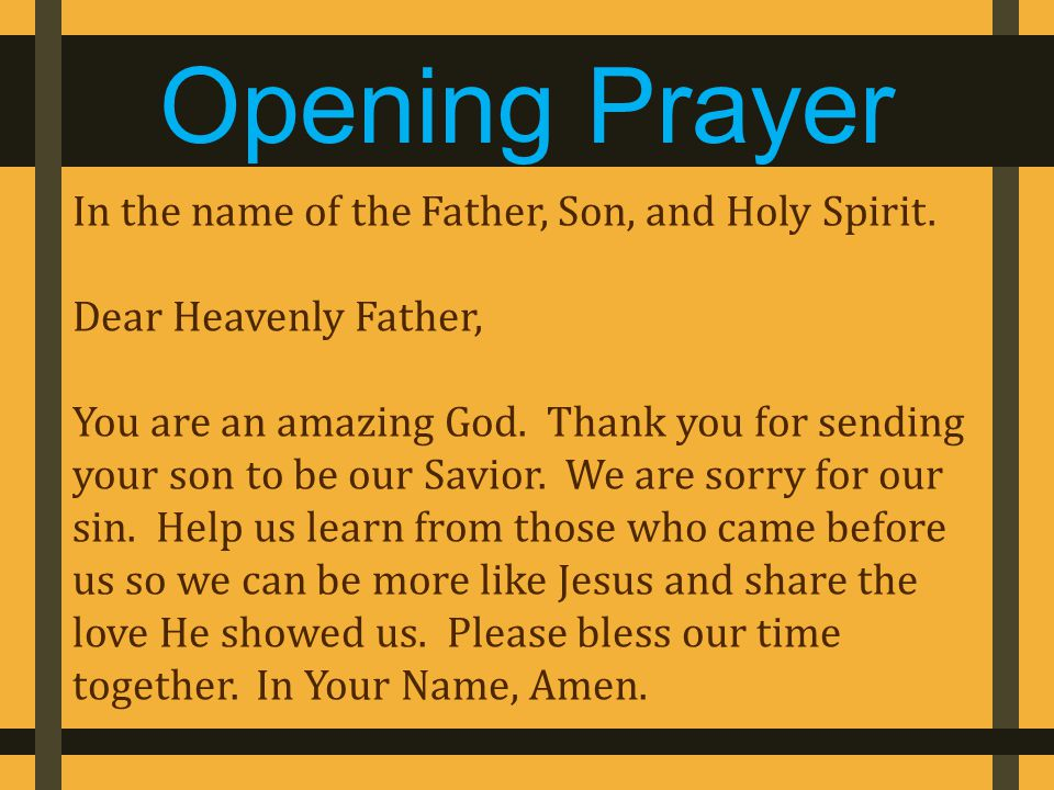 In the name of the Father, Son, and Holy Spirit. Dear Heavenly Father, You are an amazing God.
