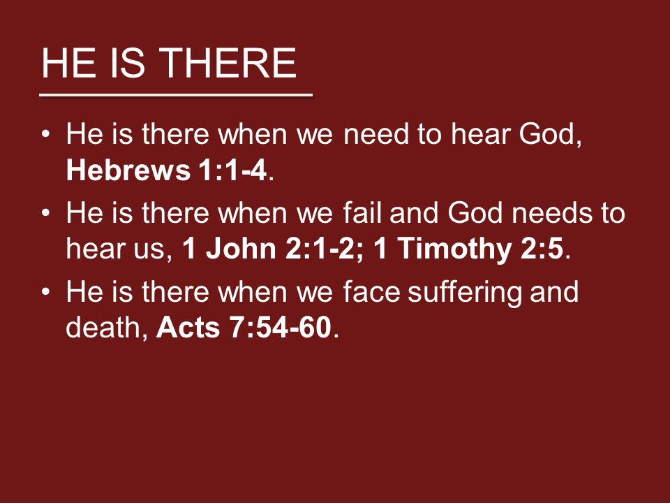HE IS THERE He is there when we need to hear God, Hebrews 1:1-4.