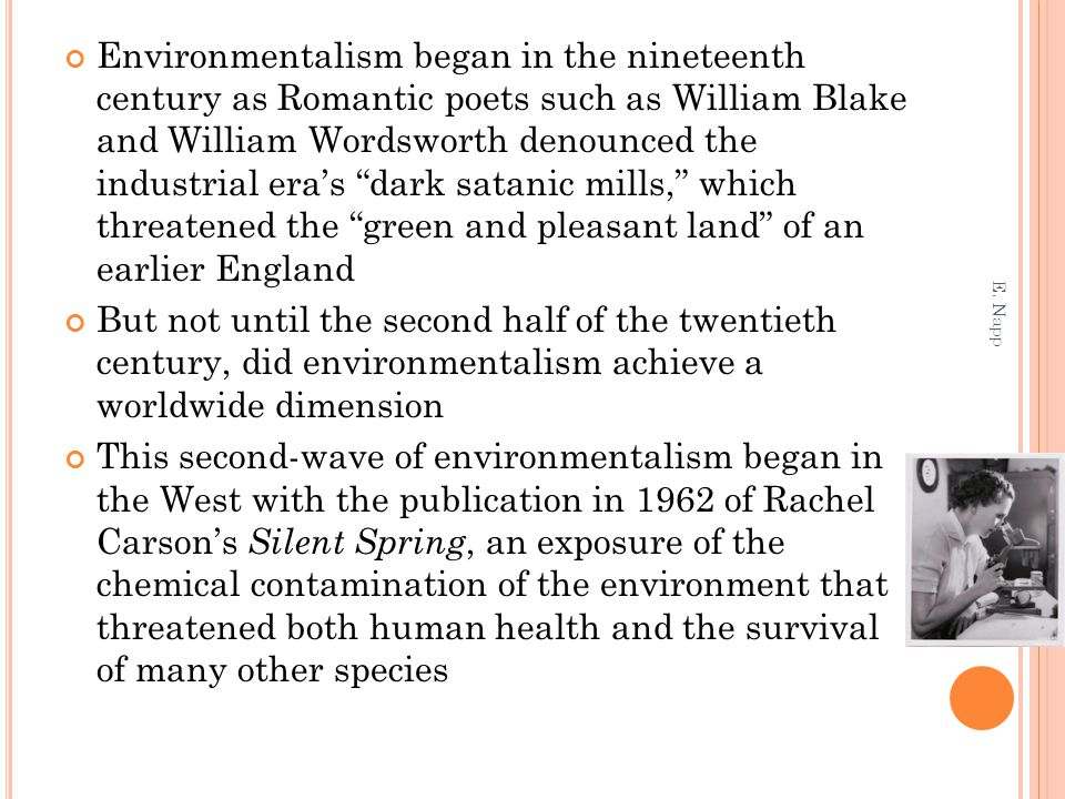 "Environmentalism began in the nineteenth century as Romantic poets such as William Blake and William Wordsworth denounced the industrial era's ""dark s"
