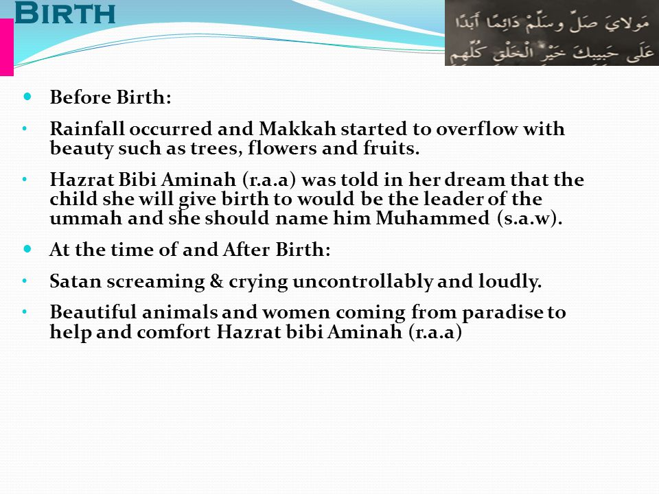 Birth Before Birth: Rainfall occurred and Makkah started to overflow with beauty such as trees, flowers and fruits. Hazrat Bibi Aminah (r.a.a) was tol