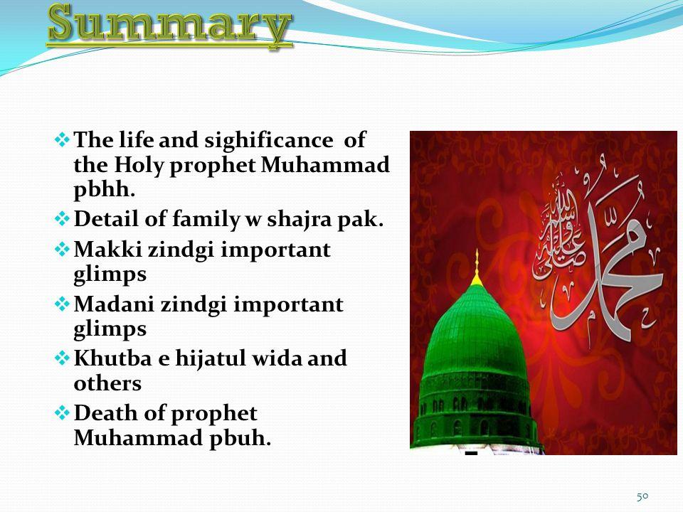50  The life and sighificance of the Holy prophet Muhammad pbhh.  Detail of family w shajra pak.  Makki zindgi important glimps  Madani zindgi imp
