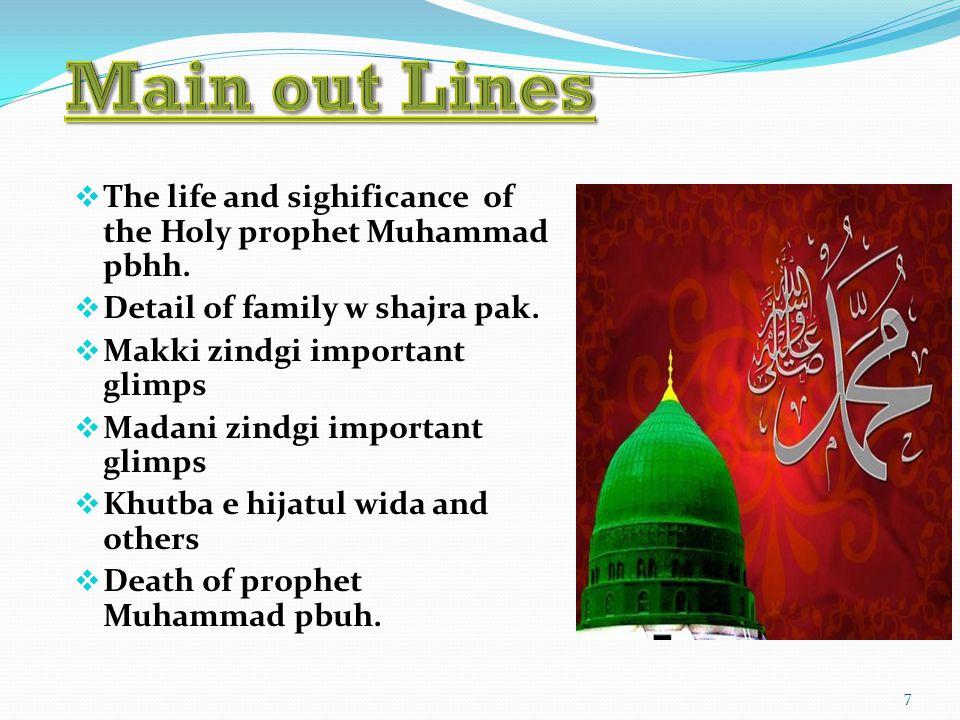 7  The life and sighificance of the Holy prophet Muhammad pbhh.  Detail of family w shajra pak.  Makki zindgi important glimps  Madani zindgi impo