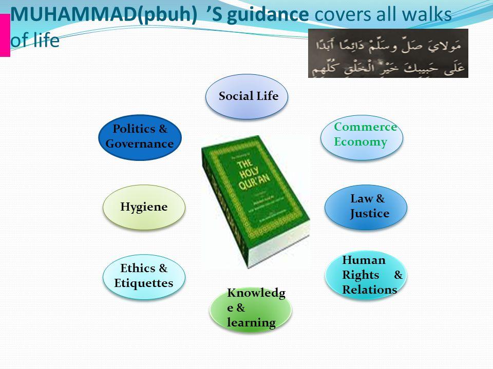 MUHAMMAD(pbuh) 'S guidance covers all walks of life Social Life Commerce Economy Politics & Governance Ethics & Etiquettes Hygiene Knowledg e & learni