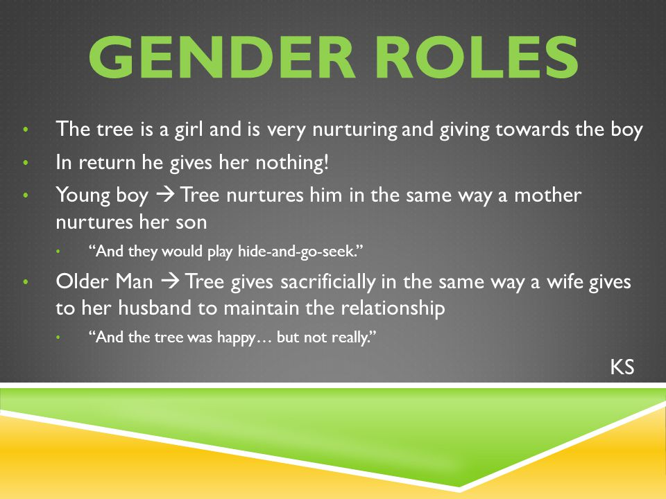 The tree is a girl and is very nurturing and giving towards the boy In return he gives her nothing.