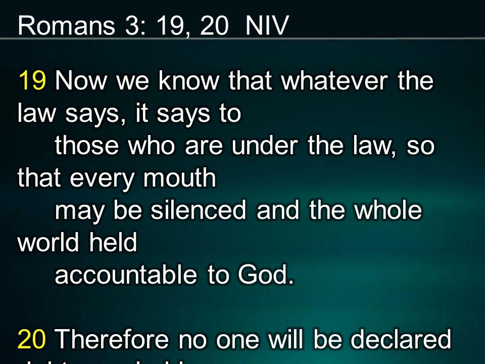 Romans 3: 19, 20 NIV