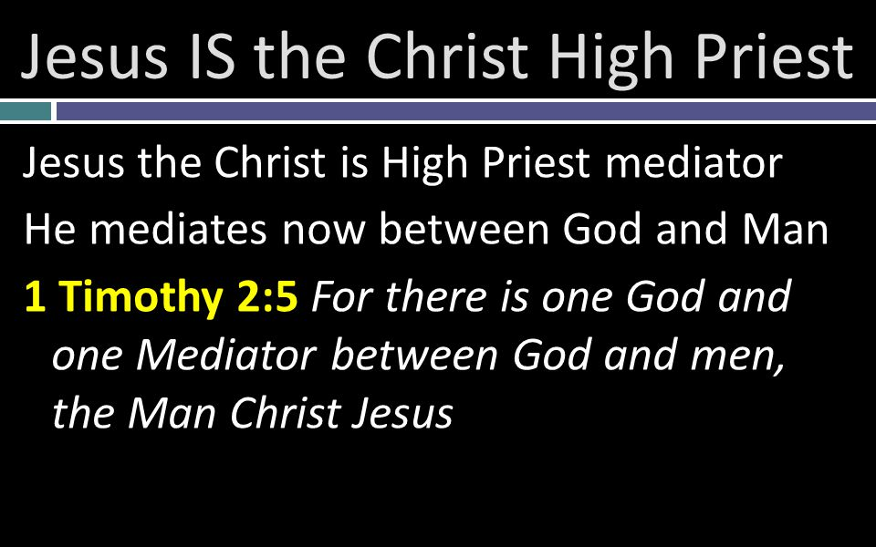 Jesus IS the Christ High Priest Jesus the Christ is High Priest mediator He mediates now between God and Man 1 Timothy 2:5 For there is one God and one Mediator between God and men, the Man Christ Jesus