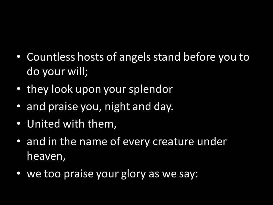 Countless hosts of angels stand before you to do your will; they look upon your splendor and praise you, night and day.
