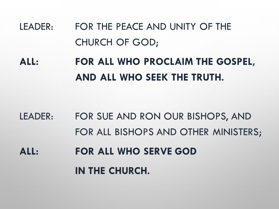 LEADER: FOR THE PEACE AND UNITY OF THE CHURCH OF GOD; ALL: FOR ALL WHO PROCLAIM THE GOSPEL, AND ALL WHO SEEK THE TRUTH. LEADER: FOR SUE AND RON OUR BI