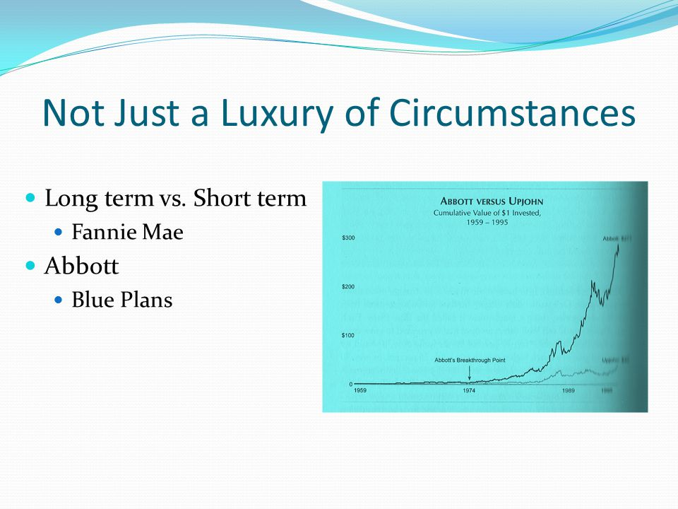 Not Just a Luxury of Circumstances Long term vs. Short term Fannie Mae Abbott Blue Plans
