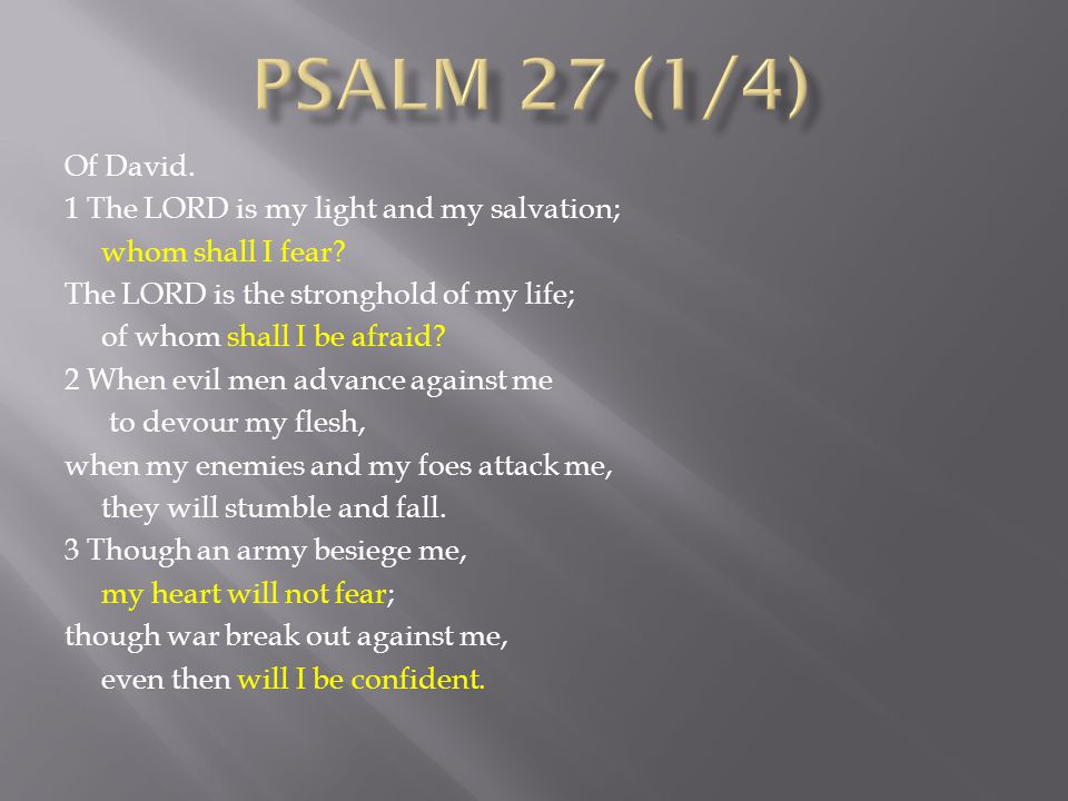 Of David.1 The LORD is my light and my salvation; whom shall I fear.