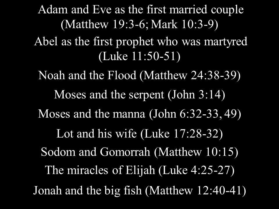 Adam and Eve as the first married couple (Matthew 19:3-6; Mark 10:3-9) Abel as the first prophet who was martyred (Luke 11:50-51) Noah and the Flood (Matthew 24:38-39) Moses and the serpent (John 3:14) Moses and the manna (John 6:32-33, 49) Lot and his wife (Luke 17:28-32) Sodom and Gomorrah (Matthew 10:15) The miracles of Elijah (Luke 4:25-27) Jonah and the big fish (Matthew 12:40-41)