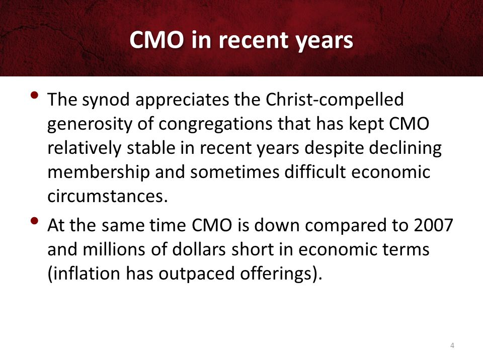 CMO in recent years 5