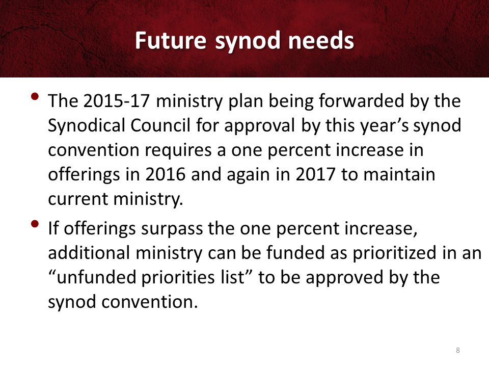 Future synod needs Also note that WELS will be encouraging congregations to participate in an above and beyond offering to eliminate the synod's debt from late 2015 through mid-2016.