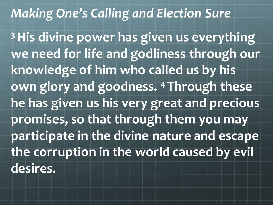 Making One's Calling and Election Sure 3 His divine power has given us everything we need for life and godliness through our knowledge of him who call