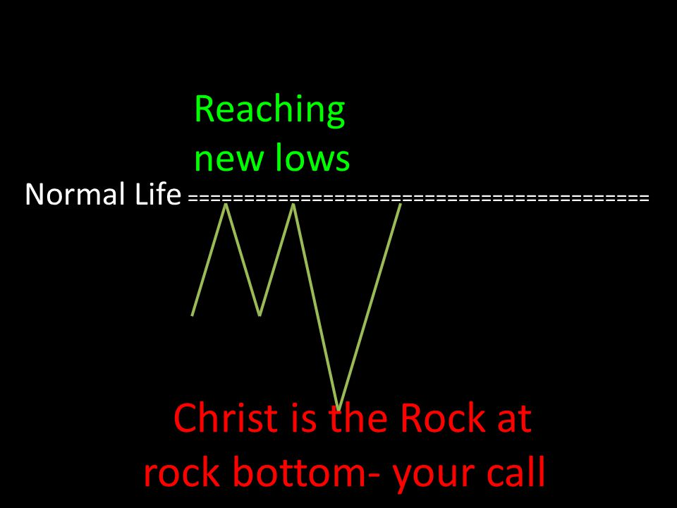 Normal Life ========================================= Reaching new lows Christ is the Rock at rock bottom- your call