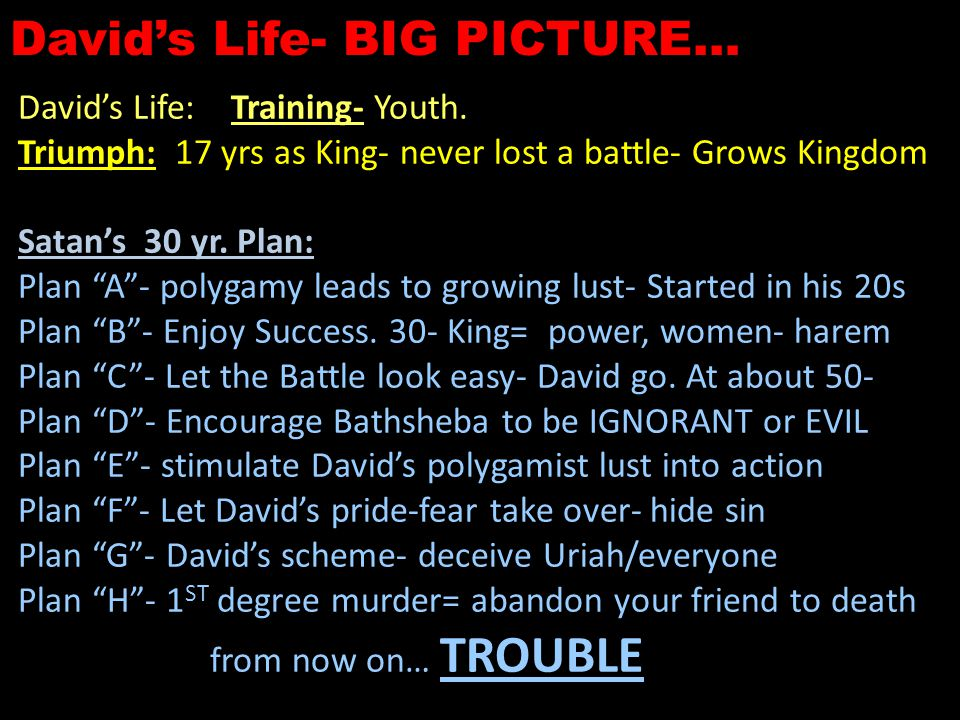 David's Life- BIG PICTURE… David's Life: Training- Youth.