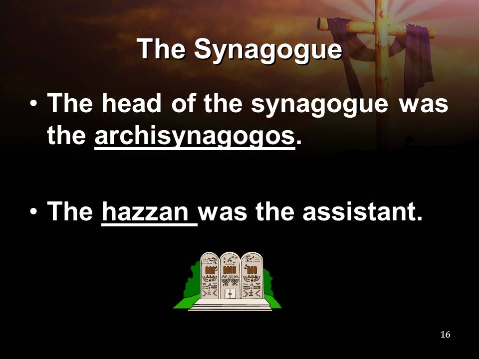 The Synagogue The head of the synagogue was the archisynagogos. The hazzan was the assistant. 16