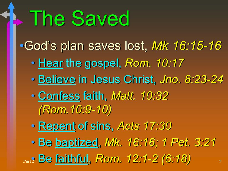 Part 2 6 The Lost Those who do not believe and obey will die in their sins, John 8:24; Acts 16:30-31 (34) Urgency of taking gospel to the lost, Matt.