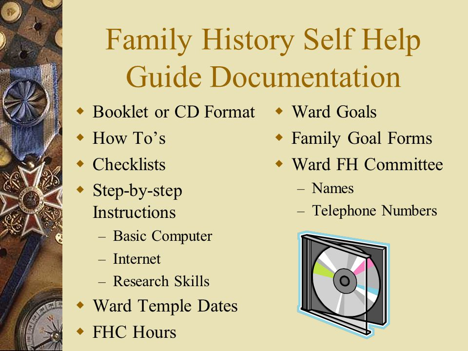 Family History Self Help Guide Documentation  Booklet or CD Format  How To's  Checklists  Step-by-step Instructions – Basic Computer – Internet –
