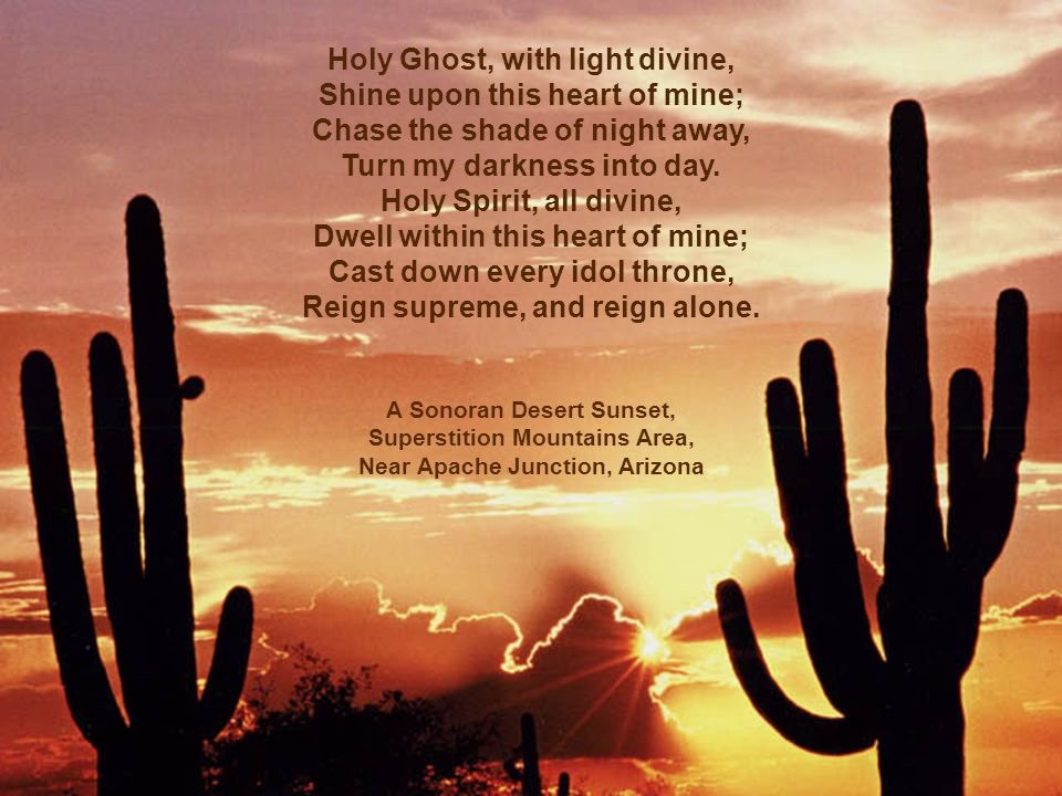 Holy Ghost, with light divine, Shine upon this heart of mine; Chase the shade of night away, Turn my darkness into day.