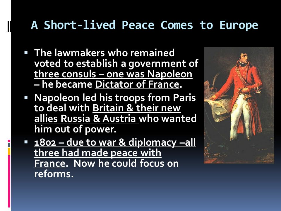 A Short-lived Peace Comes to Europe  The lawmakers who remained voted to establish a government of three consuls – one was Napoleon – he became Dictator of France.