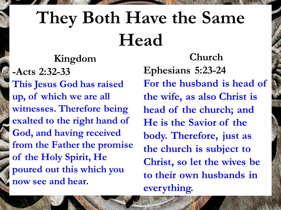 They Both Have the Same Head Kingdom -Acts 2:32-33 This Jesus God has raised up, of which we are all witnesses.