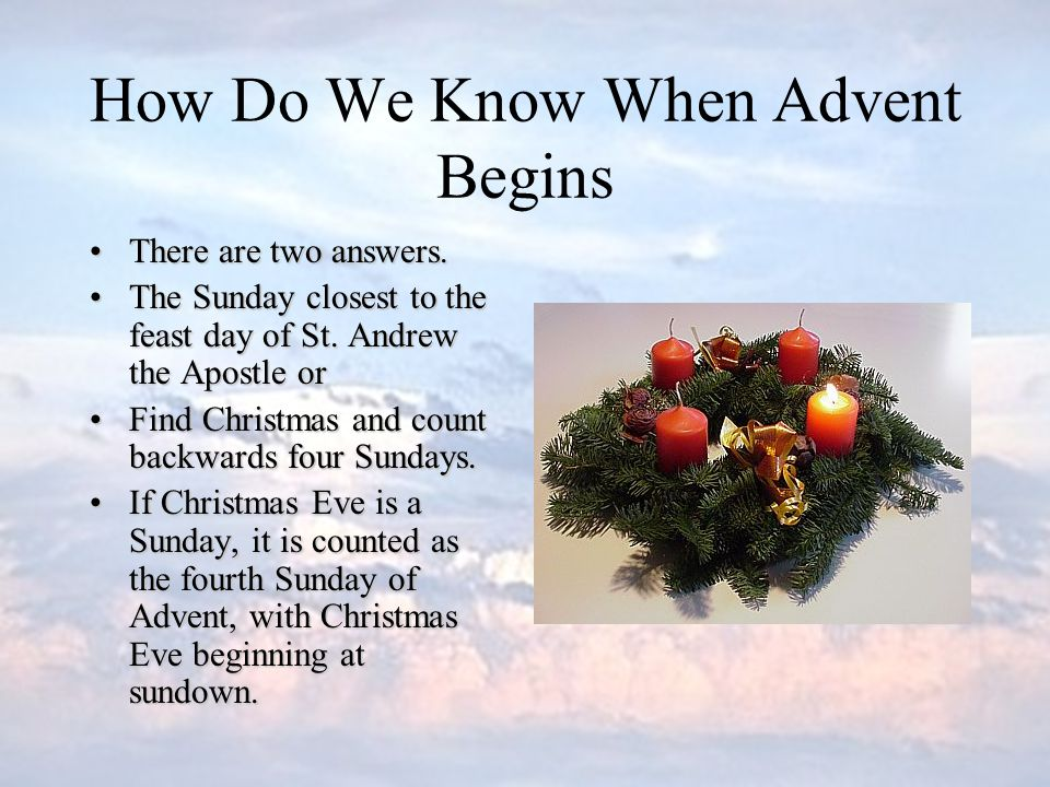 Advent The word Advent comes from the Latin word adventus and means coming It is associated with the four weeks of preparation before Christmas.