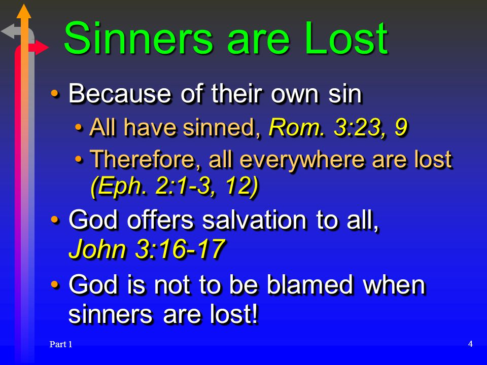 Part 1 4 Sinners are Lost Because of their own sinBecause of their own sin All have sinned, Rom.