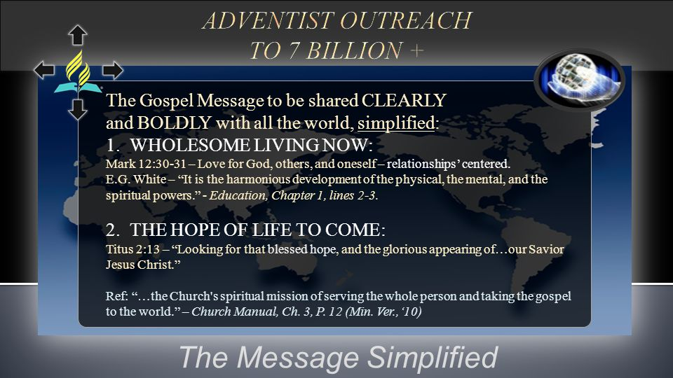 The Message Simplified The Gospel Message to be shared CLEARLY and BOLDLY with all the world, simplified: 1. WHOLESOME LIVING NOW: Mark 12:30-31 – Lov