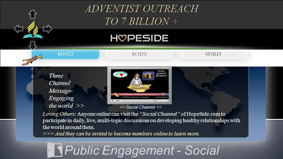 """>> Social Channel << Loving Others: Anyone online can visit the """"Social Channel"""" of HopeSide.com to participate in daily, live, multi-topic discussion"""