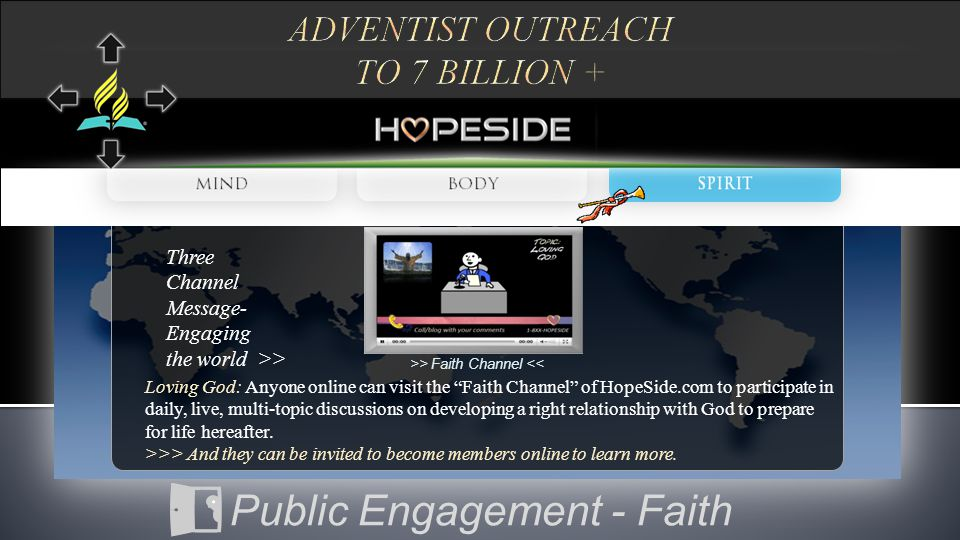 Loving God: Anyone online can visit the Faith Channel of HopeSide.com to participate in daily, live, multi-topic discussions on developing a right relationship with God to prepare for life hereafter.