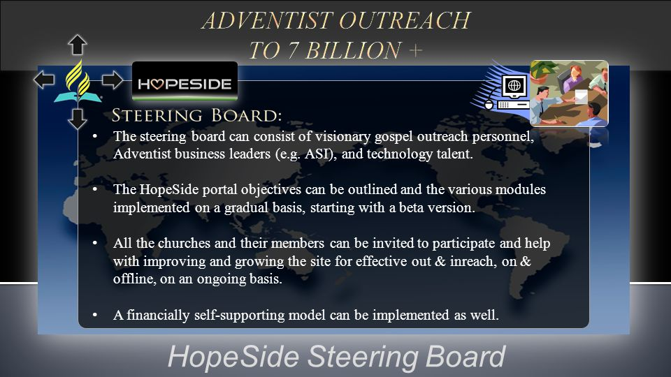 HopeSide Steering Board The steering board can consist of visionary gospel outreach personnel, Adventist business leaders (e.g. ASI), and technology t