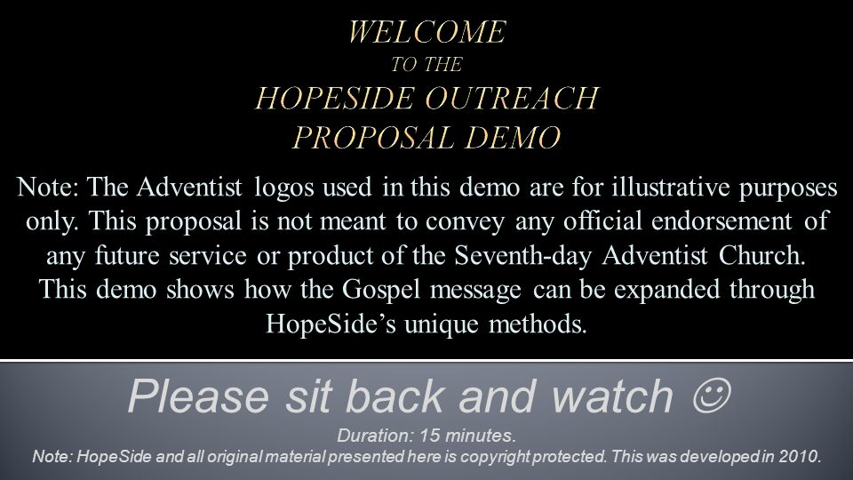 Note: The Adventist logos used in this demo are for illustrative purposes only.