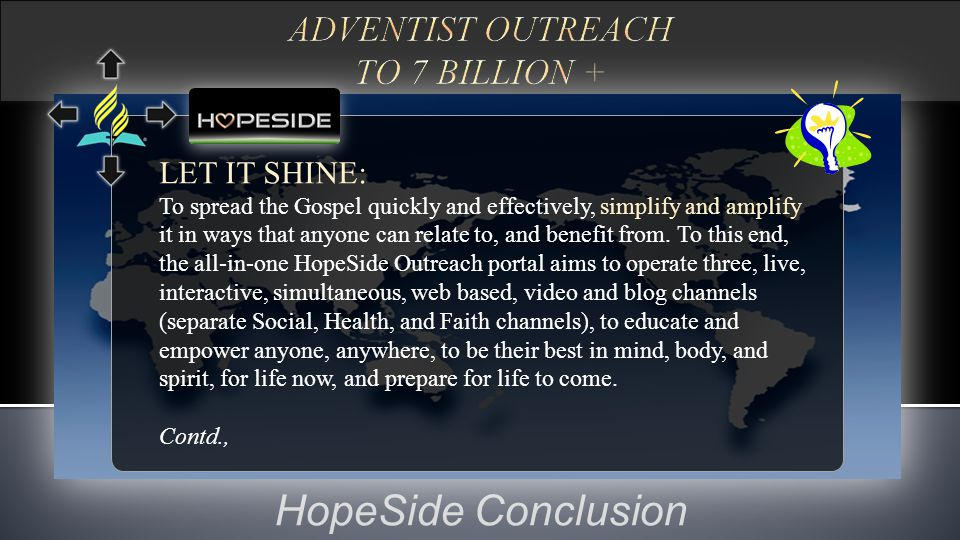 HopeSide Conclusion LET IT SHINE: To spread the Gospel quickly and effectively, simplify and amplify it in ways that anyone can relate to, and benefit from.