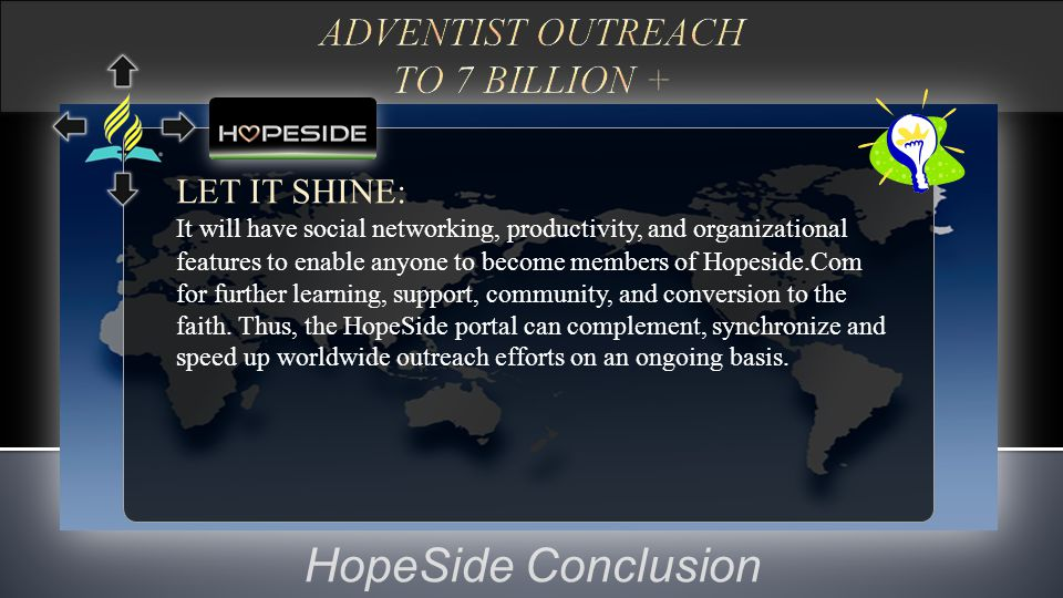 HopeSide Conclusion LET IT SHINE: It will have social networking, productivity, and organizational features to enable anyone to become members of Hope
