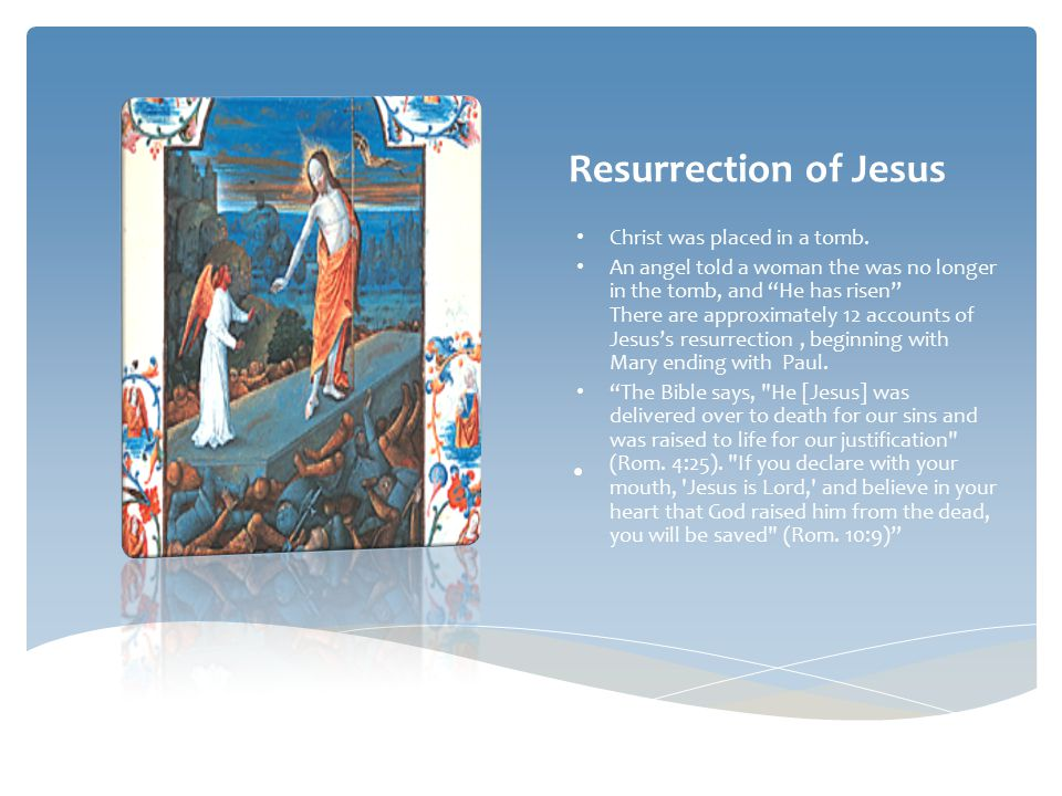 Resurrection in Christianity By definition resurrection is : is a religious belief that a dead person will return to life through the power of God.