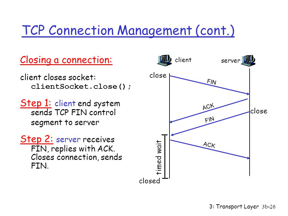 3: Transport Layer3b-26 TCP Connection Management (cont.) Closing a connection: client closes socket: clientSocket.close(); Step 1: client end system