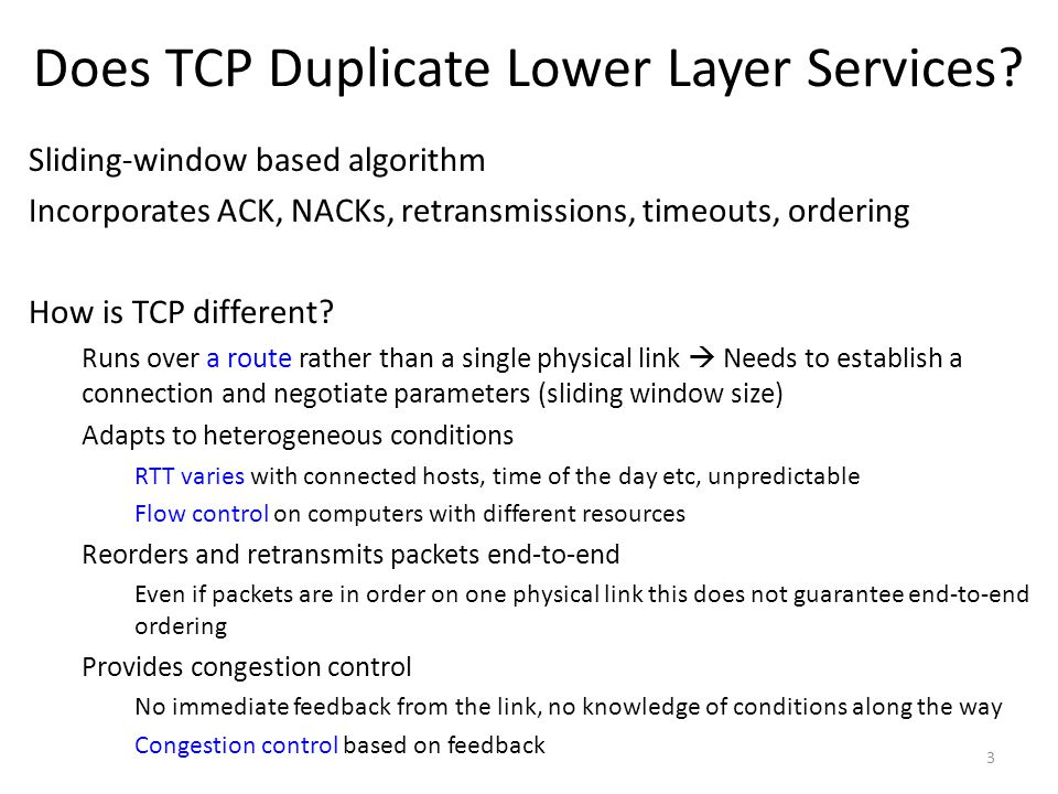Does TCP Duplicate Lower Layer Services.