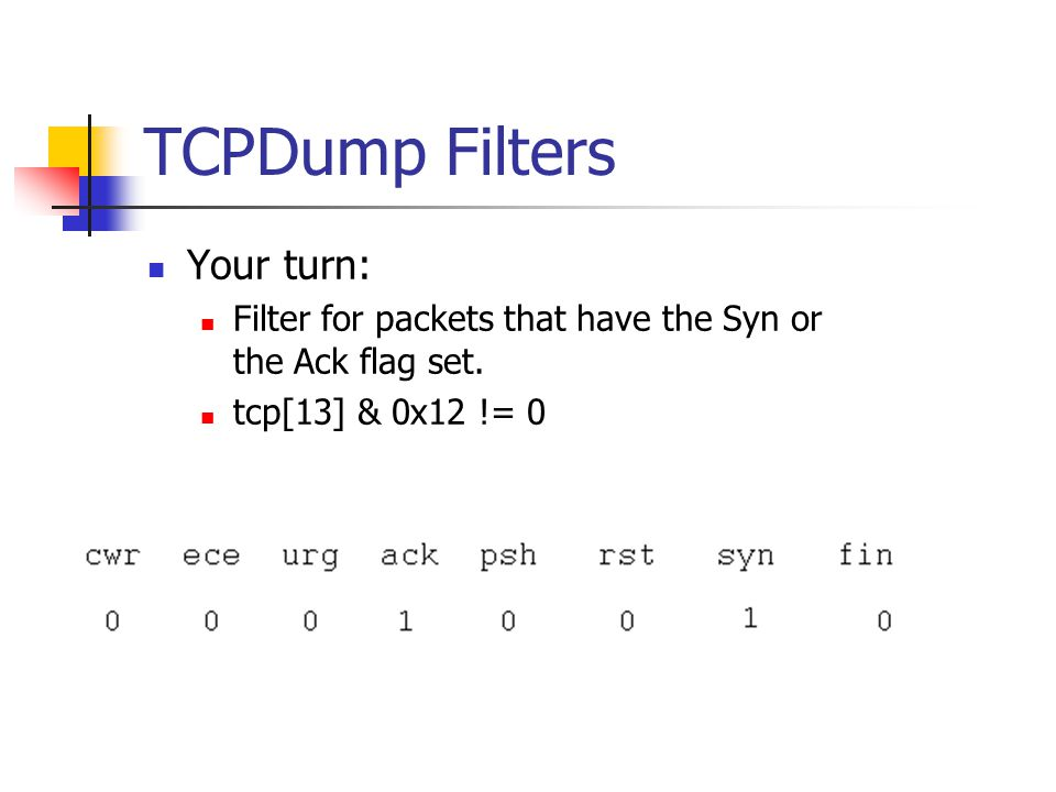 TCPDump Filters Your turn: Filter for packets that have the Syn or the Ack flag set.