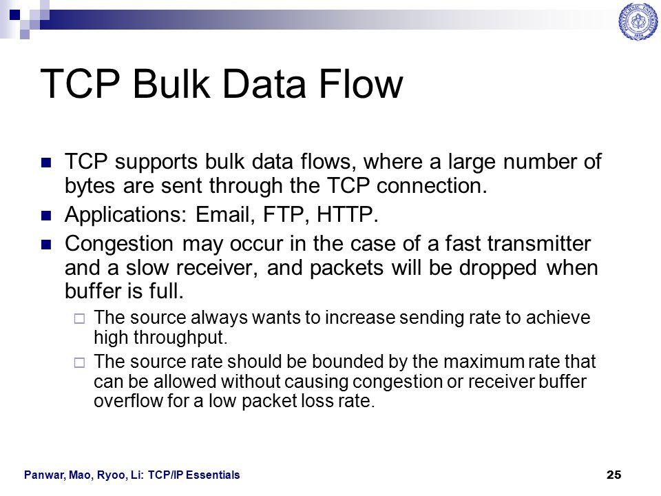 Panwar, Mao, Ryoo, Li: TCP/IP Essentials 26 Congestion Control and Flow Control Congestion control and flow control are used to cope with congestion problems.