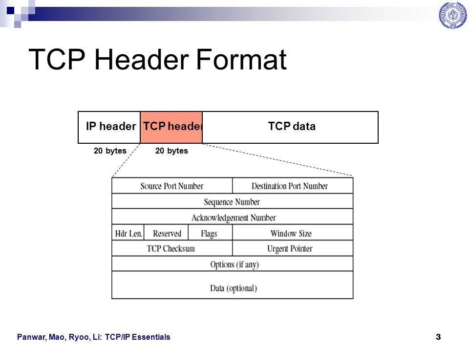 Panwar, Mao, Ryoo, Li: TCP/IP Essentials 4 TCP Header Fields Source Port Number:  16 bits.