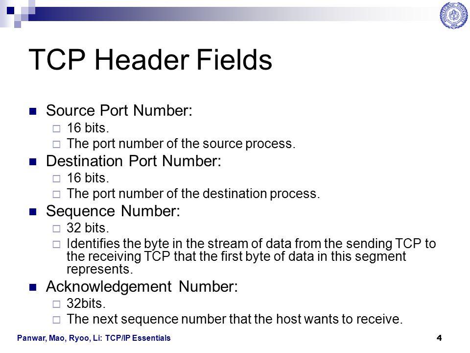 Panwar, Mao, Ryoo, Li: TCP/IP Essentials 5 TCP Header Fields Header Length  4 bits.